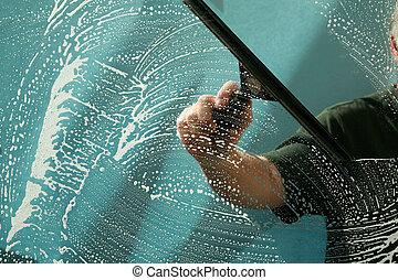 洗浄, 窓拭き