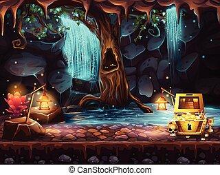 洞穴, ファンタジー, 滝, 宝物, 木, 胸