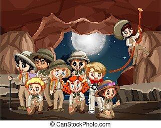 洞穴, 夜, 多数, 現場, 子供
