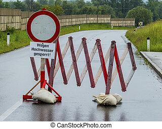 洪水, floods., 道, 妨げられる
