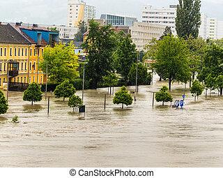洪水, linz, オーストリア, 2013
