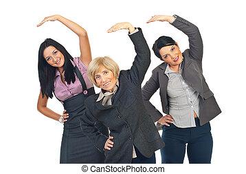活動的, 伸張, 女性実業家, 手