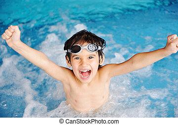 活動, プール, 遊び, 水, 夏, 子供, 幸福, 水泳