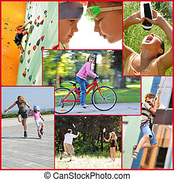 活動, 人々, コラージュ, 写真, スポーツ, 活動的