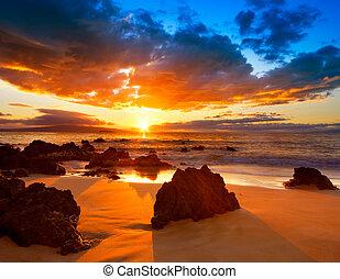 活気に満ちた, 劇的, 日没, ハワイ