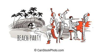 浜。, コンサート, 木。, ジャズ, 海岸, バンド, hand-drawn, ベクトル, やし, 海, illustration.