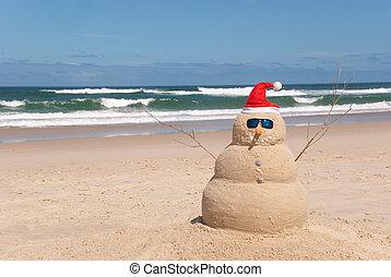 浜, サングラス, sandman, サンタの 帽子