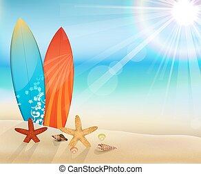 浜, サーフボード, 日中