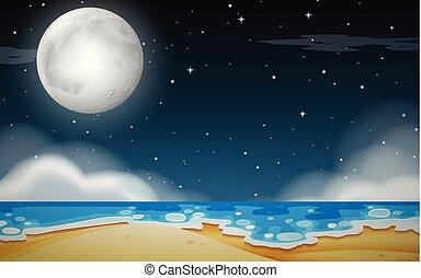 浜 場面, 夜