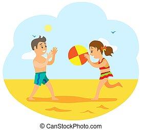 浜, 子供, バレーボール, ゲームを すること, 子供