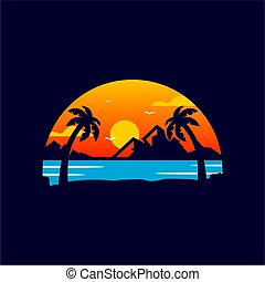 浜, 日没, ロゴ