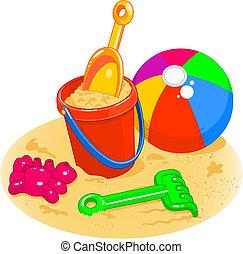 浜 球, バケツ, おもちゃ, -, シャベル