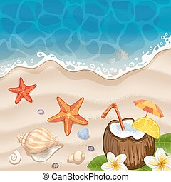 浜, 背景, 夏