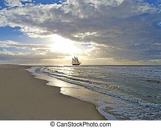 浜, 船, 日没, 海, 航海
