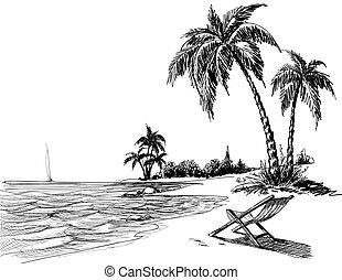浜, 鉛筆, 夏, 図画