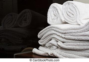 浴室, ホテル, 折られる, タオル