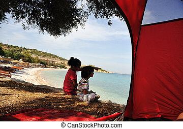 海岸, 子供, 幸せ