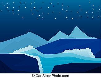海岸, 岩, 風景, 海洋, 背景, 夜