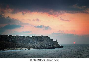 海岸, 日没