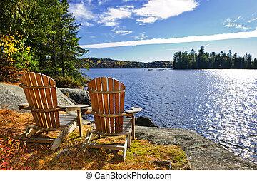 海岸, 椅子, 湖, adirondack