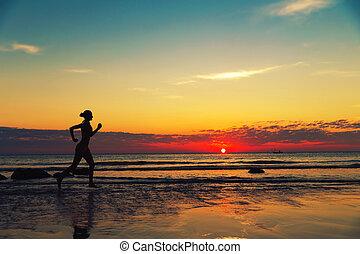 海岸, runing, 女性, 前方へ, 海