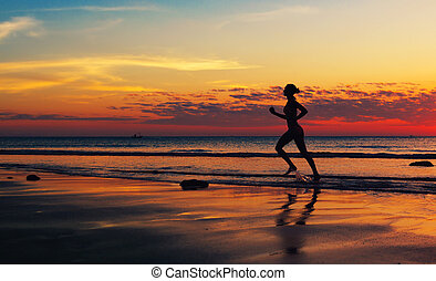 海岸, runing, 女, 前方へ, 海