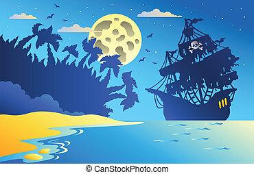 海景, 船, 2, 海賊, 夜