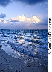 海洋, 浜, 波, 夕闇