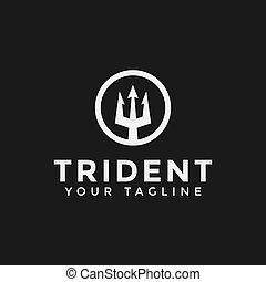 海王星, テンプレート, ロゴ, デザイン, 円, poseidon, trident