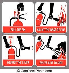 消火器, ベクトル, 火, 指示
