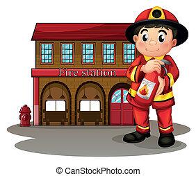 消火器, 保有物, 消防士, 火, イラスト, 駅, 背景, 前部, 白