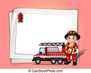 消火器, 彼の, 消防士, 火, イラスト, ∥横に∥, ペーパー, トラック, 保有物, ブランク, 前部, 白