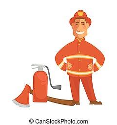 消火器, 消すこと, 平ら, 火, 消防士, 消防士, ユニフォーム, 装置, ベクトル, おの, ∥あるいは∥, アイコン