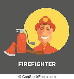 消火器, 消すこと, 消防士, 火, ポスター, 消防士, ユニフォーム, 装置, ベクトル, おの, ∥あるいは∥