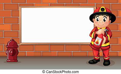 消火器, 消防士, 火, 板, 前部, 空