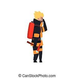 消火器, 消防士, 火, 消防士, 仕事, 特徴, イラスト, ユニフォーム, ベクトル, 背景, 白, おの
