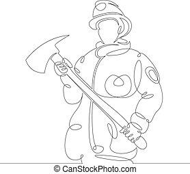 消防士, おの, 救助者, ユニフォーム