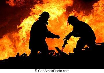消防士, 勇士, シルエット