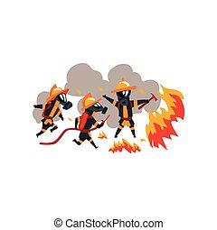 消防士, 特徴, 消すこと, firefighting, 火, 消防士, 装置, ユニフォーム, ベクトル, イラスト, 背景, 白