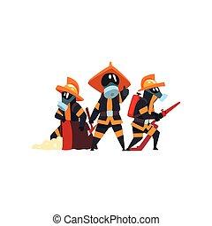消防士, 特徴, firefighting, 消防士, 仕事, イラスト, ユニフォーム, ベクトル, 装置, 背景, 白