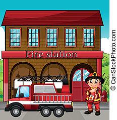 消防署, トラック, 消防士
