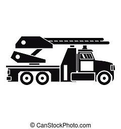消防車, アイコン, スタイル, 単純である