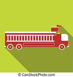 消防車, アイコン, スタイル, 平ら