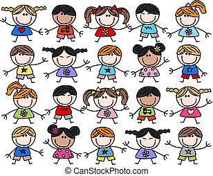 混ぜられた, 子供, 子供, 民族, 幸せ