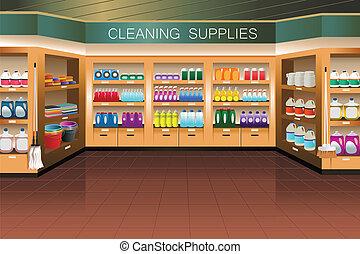 清掃, セクション, 食料雑貨, store:, 供給