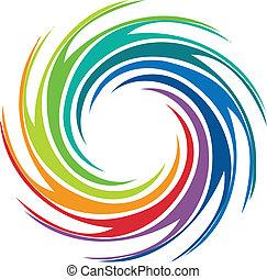 渦巻, ロゴ, 抽象的, イメージ, カラフルである
