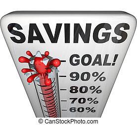 測定, お金, 増加, 節約, 温度計, nestegg