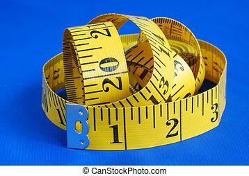 測定, 青, テープ, 隔離された, 背景