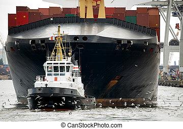 港, タグボート, towing, 貨物船