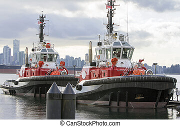 港, ボート, 引っ張りなさい, バンクーバー, bc州